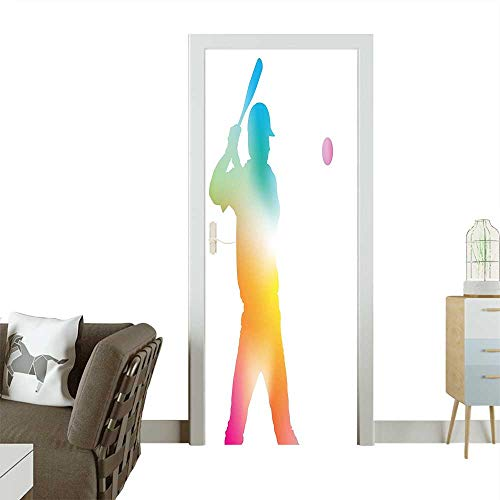 Homesonne Door Sticker WallpaperColorful Reflection of A Baseball Player Batter Softball Hitter Swinging Arms Fashion and Various patternW35.4 x H78.7 - Door Swinging Restaurant Kitchen