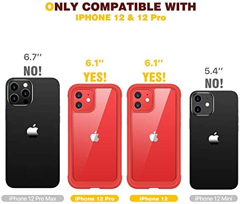"""Diaclara Designed for iPhone 12/12 Pro Case, Full Body Rugged Case with Built-in Touch Sensitive Anti-Scratch Screen Protector, Soft TPU Bumper Case for iPhone 12/12 Pro 6.1"""" (Red and Clear)"""