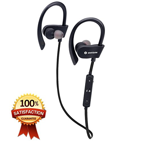 Damitech wireless bluetooth headphones, Best bluetooth wireless earphones with built in Mic, sweatproof headsets. IPX5 HD stereo Noise canceling earbuds for Gym Running Workout.