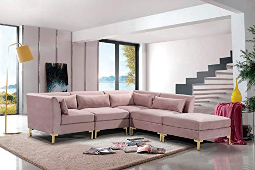 Iconic Home FSA9261-AN Girardi Modular Chaise Sectional Sofa Velvet Upholstered Solid Gold Tone Metal Y-Leg with 6 Throw Pillows Modern Contemporary Blush
