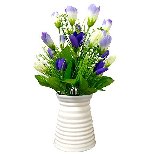 UIKKOT Artificial Flowers Silk Bouquet Fake Magnolia with Plastic Vase Arrangements for Indoor Outdoor Decorations Wedding Party Home Videos Table Gift or MV (Blue)