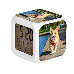 Child 7 Color Change LED Digital Alarm Clock With Date Alarm Thermometer Desktop Table Cube Alarm Clock Night Glowing flash Watch Toys Adult Brown and White Pembroke Welsh Corgi Near the Body of Water