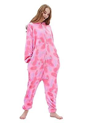 ABENCA Fleece Onesie Pajamas for Women Adult Cartoon Animal Halloween Cosplay Costume