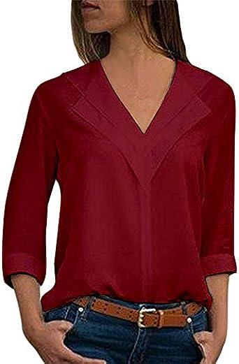 Camisa de Gasa de Manga Larga con Escote en V Sexy de Color sólido, Tops para Mujer Rojo Vino XL Rojo Vino XL: Amazon.es: Ropa y accesorios