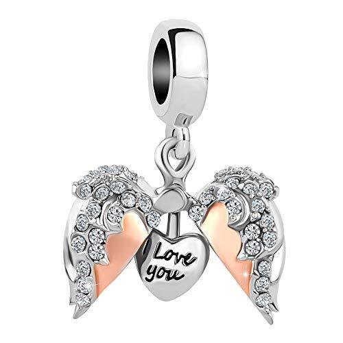 SexyMandala I Love You Heart Charm Openable Rose Gold Crystals Bead fit European Charm Bracelets -