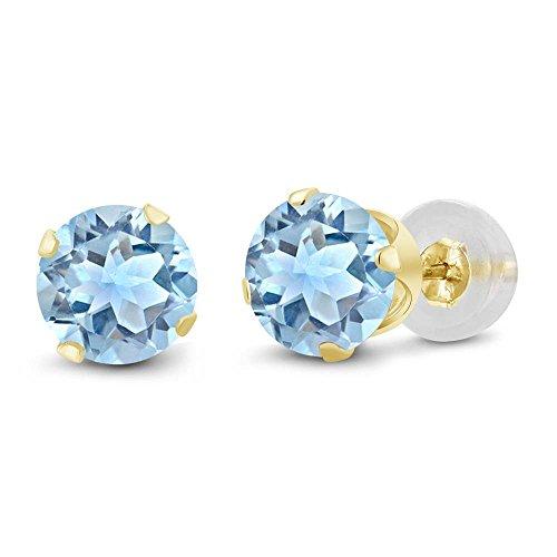 Gem Stone King 14K Yellow Gold Sky Blue Topaz Gemstone Birthstone Ladies Stud Earrings 2.39 cttw, 6mm Round Cut