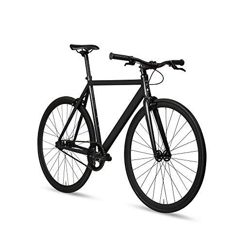 6KU Aluminum Fixed Gear Single-Speed Fixie Urban Track Bike, Shadow Black-M-55cm