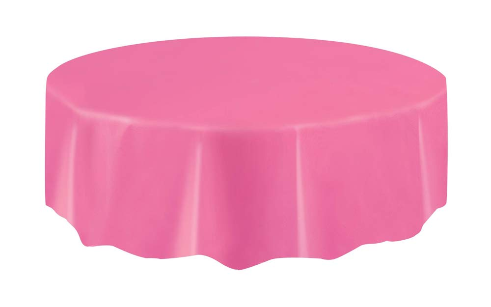 Unique Hot Pink Plastic Party Table Cover Round 84