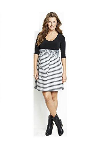 Maternal America Women's Maternity Scoop Neck Front Tie Dress (X-Small, Black/Black Stripes)