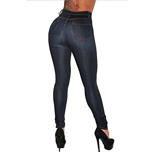 Elastici Pantaloni Donna Alta Matita Moda Skinny Blu Scuro Vita Jeans Casuale Denim 0q7wXgq