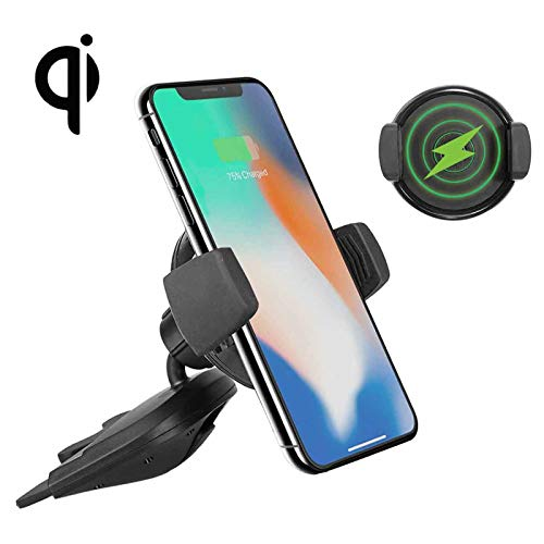Qi Wireless Charger Car CD Slot Mount Phone Holder for iPhone XS/XR/X/8/8 Plus, Samsung Galaxy S10/S10E/S9/S8/Note 9/Note 8/S7/S7 Edge/S6, Qi-Enabled