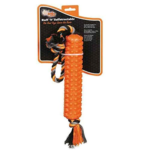 Tuffstructable Stick Shaped Tug Dog Toy Orange Durable Textu