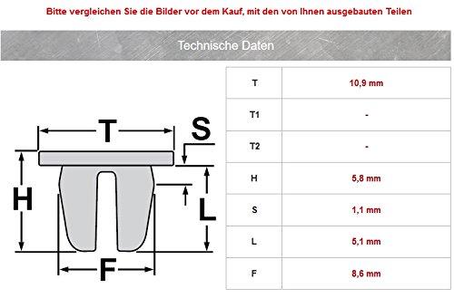 10x Befestigungs Clips T/ür Verkleidung Innen ArmaturenS440233