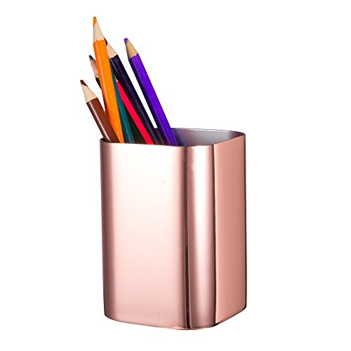 IMEEA 1.2mm Thick Heavy Duty SUS304 Mirror Finish Stainless Steel Pen Pencil Pot Holder Container Organizer (Rose Gold)
