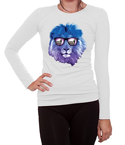 YM Wear Lion Galaxy Logo Glasses with Zebra Casual Hispter Women's Long Sleeve T Shirt Small - Glasses Hispter