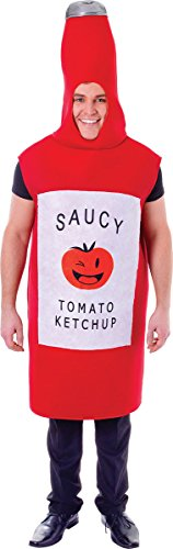 Men's Stag Night Halloween Fancy Dress Party Outfit Tomato Sauce Bottle Costume -
