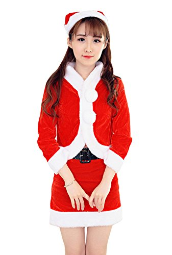 [YeeATZ Long Sleeved Big Wool Ball Sexy New Year'S Eve Christmas Uniform Costume] (4xl Santa Costume Uk)