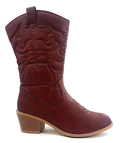 Latest Hot Fashion Mid Calf Women West Blvd Miami,Moscow,Beijing, Cow Boy Western Slauchy Casual Chunky Heel Boot - Hot Miami Women