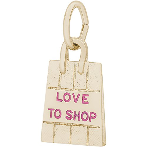 Rembrandt Charms 10K Yellow Gold 3D Love to Shop Shopping Bag Charm on 10K Gold Rope Necklace, 18