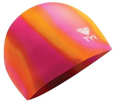 TYR Multi Silicone Cap, Orange/Pink