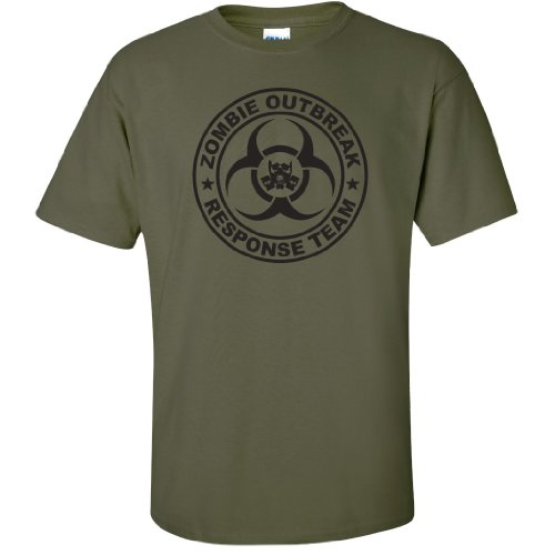 Zombie Outbreak Response Team Short Sleeve T-Shirt in Military Green - X-Large