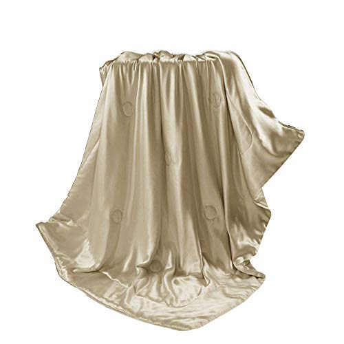 - THXSILK Silk Blanket, Silk Throws, Silk Blanket Cover, Sofa Throws-Ultra Soft, Breathable -100% Top Grade Mulberry Silk, Travel/Toddler Size, Champagne
