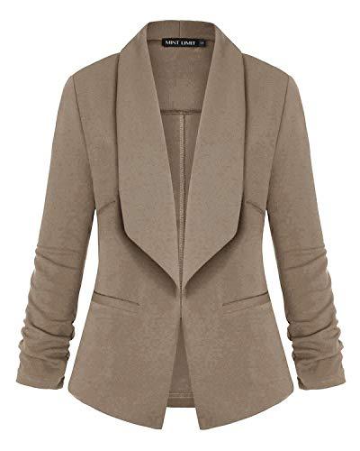 Unifizz Women's Lightweight Blazer Ruched Sleeve Open-Front Cardigan Work Office Jacket Khaki L