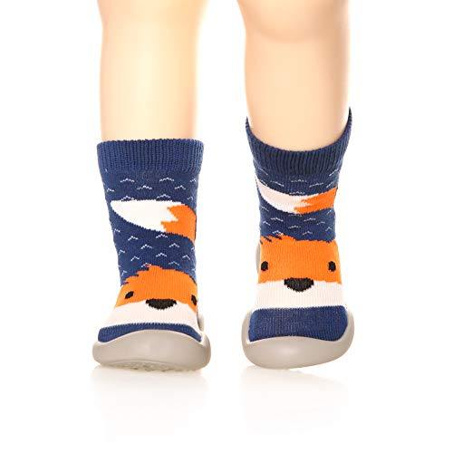 Childrens Toddlers Moccasins Slipper Floor Anti-Slip Breathable Cotton Kids Baby Boys Girls Indoor Outdoor Shoes Socks (Fox, Insole :5.5 Inch(14.0 CM))