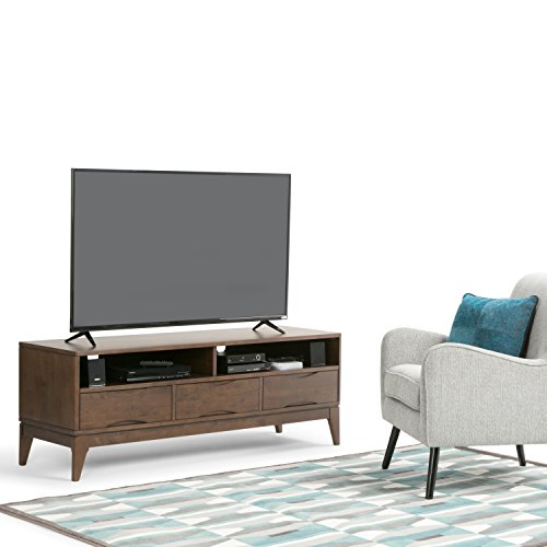 Simpli Home 3AXCHRP-11 Harper Solid Hardwood 60 inch wide Mid Century Modern TV media Stand in Walnut Brown For TVs up to 65 inches