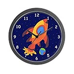 CafePress Outer Space Rocket Ship Wall Clock - Standard Multi-color