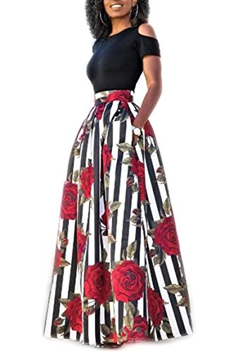 VLUNT Women's African Floral Print A Line Long Skirt Pockets Two Pieces Maxi (Print Short Sleeve Skirt)