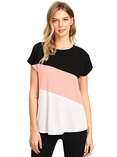 - Romwe Women's Color Block Blouse Short Sleeve Casual Tee Shirts Tunic Tops Black Pink White L