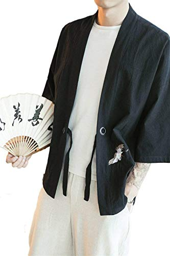 Spogliatoio Schwarz Manica Di Degli Ricamo Kimono Lino Cotone Outwear Abbigliamento Colore Giacca Haori Lunga V Cappotto Solido In Uomini Collare ZwdqHZ