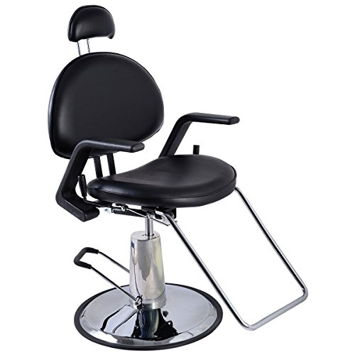 Barber Chair, Hair Salon Equipment Reclining Hydraulic Styling Chair (Black) by Gentle Shower