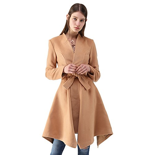 (Chicwish Women's Bowknot V Neck Open Front Long Sleeve Light Tan Asymmetric Hemline Belted Flared Wool Blend Coat, Tan, X-Large)