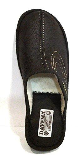 DAVEMA ciabatte pantofole lana da uomo INVERNALI mod. 1113 t.moro