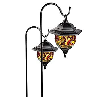 Pair Of 2 Hanging Solar Powered Garden Lanterns