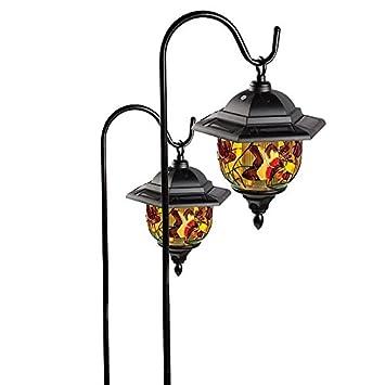 pair of 2 hanging solar powered garden lanterns amazon co uk