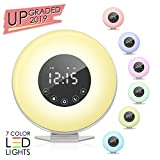 Sunrise Alarm Clock, Wake up Light 6 Nature Sounds, FM Radio, Color Light, Bedside Sunrise Simulator,Touch Control for Heavy Sleepers - White