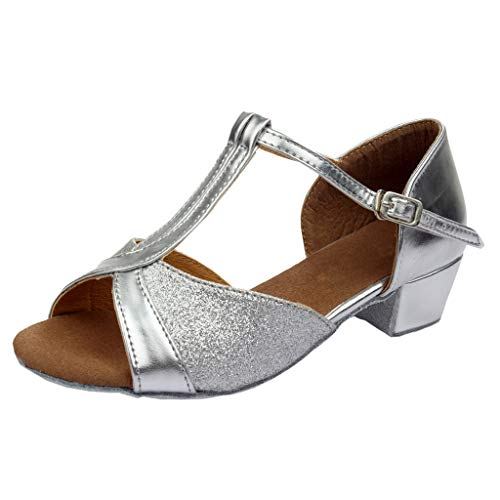 - YANG-YI Toddler Baby Kids Girls Princess Dancing Shoes Low Square Heel Ballroom Tango Latin Sandals Silver