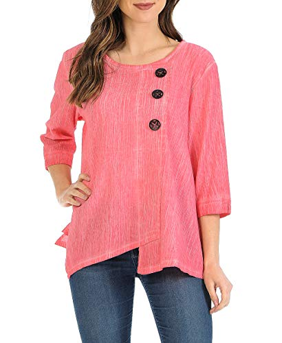 - Focus Fashion Women's Cotton Crinkle Gauze Tunic-CG102 (Large, SD-Coral)