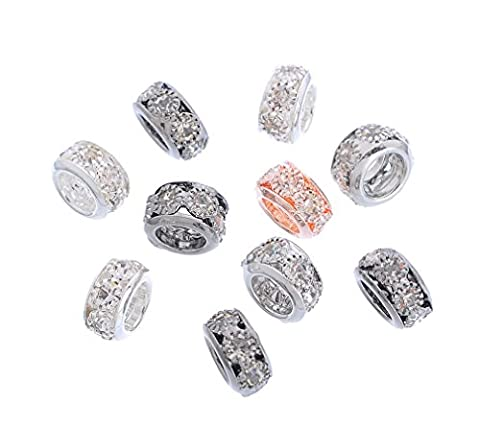 Souarts Mixed Random European Spacer Beads with Clear Rhinestone for Charm Bracelets Pack of 10pcs