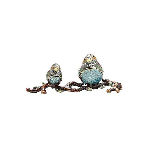 Porta Joias de Zamac Pássaros Azul Prestige