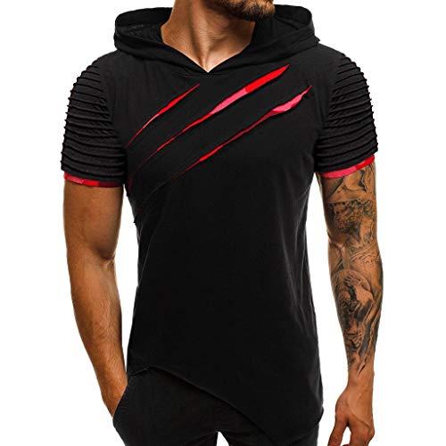 Lelili S-3XL Summer Raglan Short Sleeve T-Shirt, Men Stripe Pleated Cut Out Plus Size Slim Casual Sweatshirt Pullover