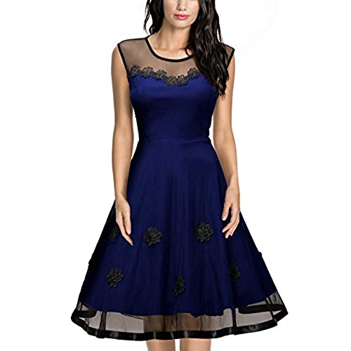 Miusol Womens Elegant Illusion Floral Lace Cap Sleeve Bridesmaid Prom Dress (Large, Navy Blue)