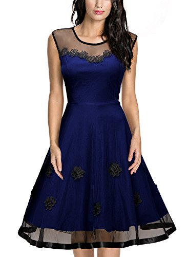Miusol Women's Vintage Floral Lace Sleeveless Bridesmaid Party Dress (Small, Navy Blue)
