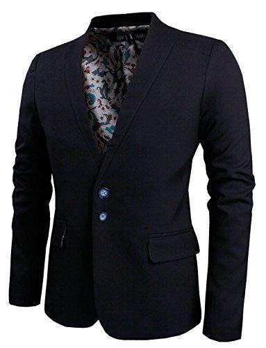 Tom's Ware Mens Casual Slim Fit Structured Two Button Twill Blazer TWCJ10-BLACK-US L (ASIAN XL)