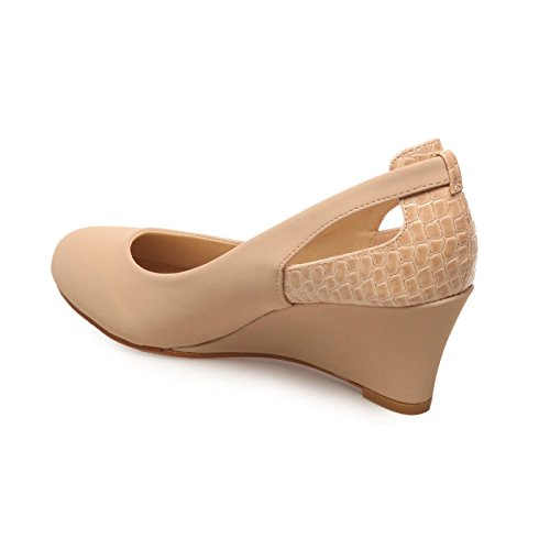 La Modeuse-Sandalias compensados doble material Beige - beige