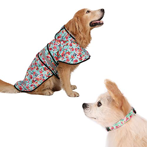 HDE Raincoat and Dog Collar Bundle Matching Floral Rain Poncho and Adjustable Nylon Pet Collar for Large Dogs