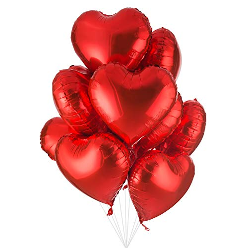 - 18 inch Red Heart Shaped Foil Mylar Balloons Helium Balloon Birthday Party Supplies Wedding Decoration, 50pc